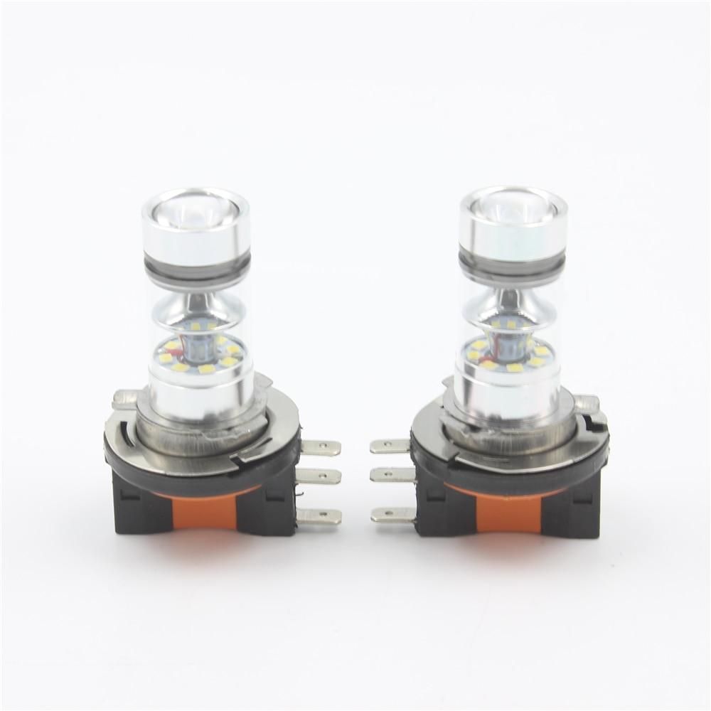 2Pcs White 100W Xenon H15 LED Fog Light bulbs For Auto LED High Power Headlight Daytime Running Lights Source DC12-24V 850LM 2x h7 499 high power 60w cob led headlight fog light drl white 6000lm error free ca229