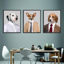 Creative Cute Dog Spray Canvas Painting Nordic Decoration Home Art Poster Modular Wall Picture for Childrens Room Nursery Decor
