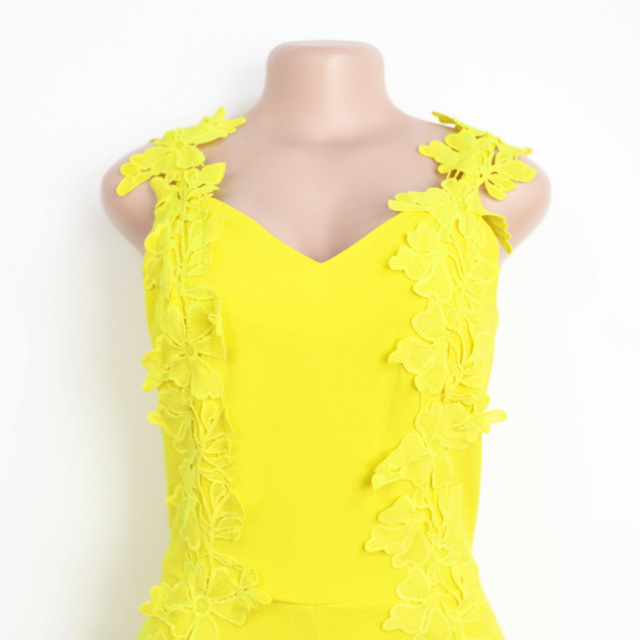 Women Summer Sexy Jumpsuits Yellow Overall Sleeveless Deep V Neck with Embroidery Slim Bodysuit Drop Shipping 2019 Plus Size XXL