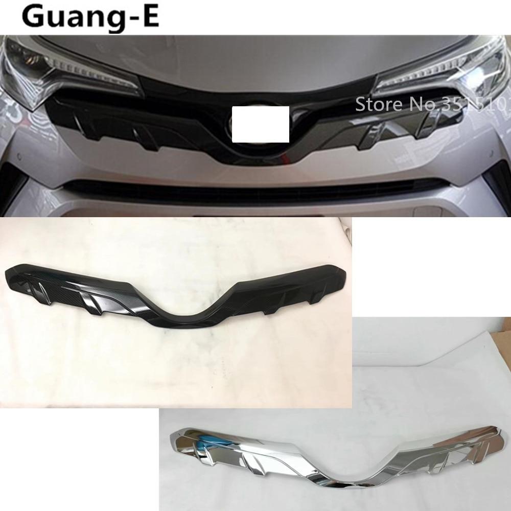 Car Bumper Engine ABS Chrome/Carbon Fibre Trim Racing Front Grid Grill Grille Frame Edge For Toyota C HR CHR 2017 2018 2019 2020 abs chrome front grill chrome trim chrome - title=