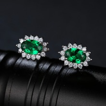 JewelryPalace Oval 2.5ct Created Emerald Stud Earring 925 Sterling Silver Earring For Women Princess Diana Wedding Fine Jewelry
