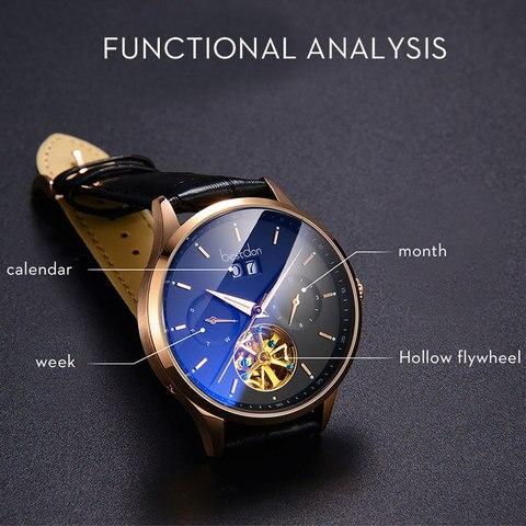 Bestdon Switzerland Automatic Watch Men Mechanical Waterproof Skeleton Watches Fashion Full steel Luminous Date Pilot Wristwatch Lahore