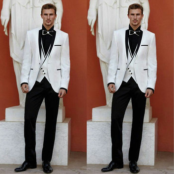 Italy Men Suits for Wedding Suits White Blazers Groom Tuxedo Black Lapel One Button 3Piece Costume Homme Ternos trajes de hombre