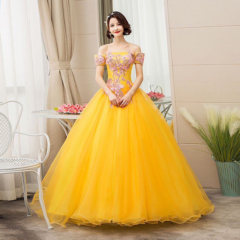 Do Dower New Quinceanera Dresses Gold Off The Shoulder Flower Ball Gown Party Prom Quinceanera Gown Vestidos De Quincea Era 2019