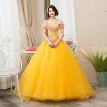 فستان من Do Dower جديد من Quincean era ذهبي بدون الكتف لحفلات كرة زهرية للحفلات الراقصة فستان من Quincean era Vestidos De Quincea era 2019
