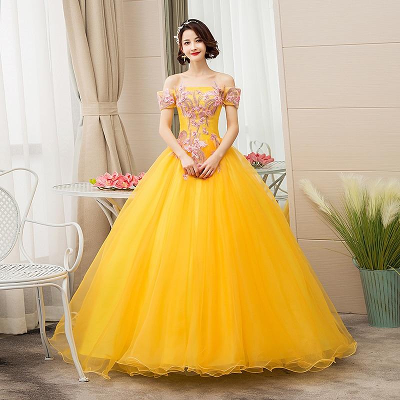 EZKUNTZA New Quinceanera Dresses Gold Off The Shoulder Flower Ball Gown Party Prom Quinceanera Gown Vestidos De Quincea Era 2019