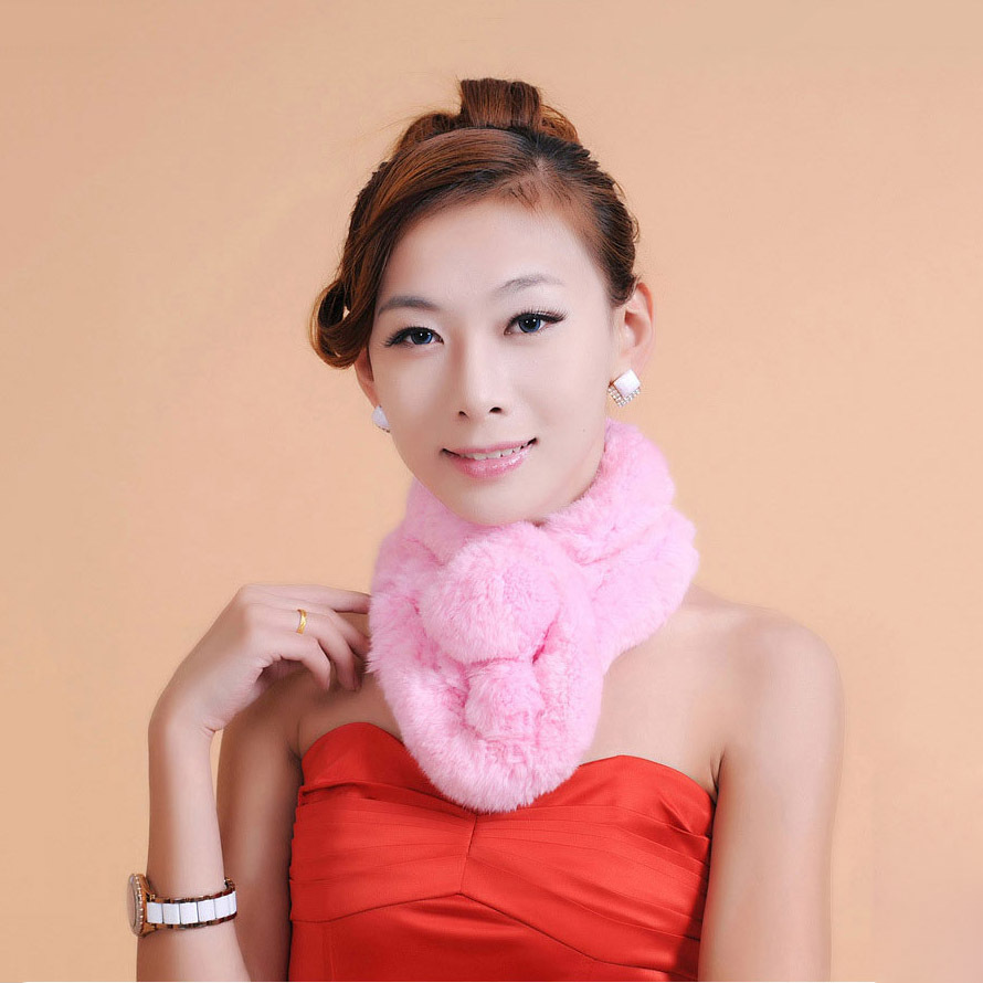 Natural Fur 2017 Spring Autumn Real Knitted Rabbit Fur Stole Winter Warm Genuine Fur Scarves Poncho with Pompom Free Shipping