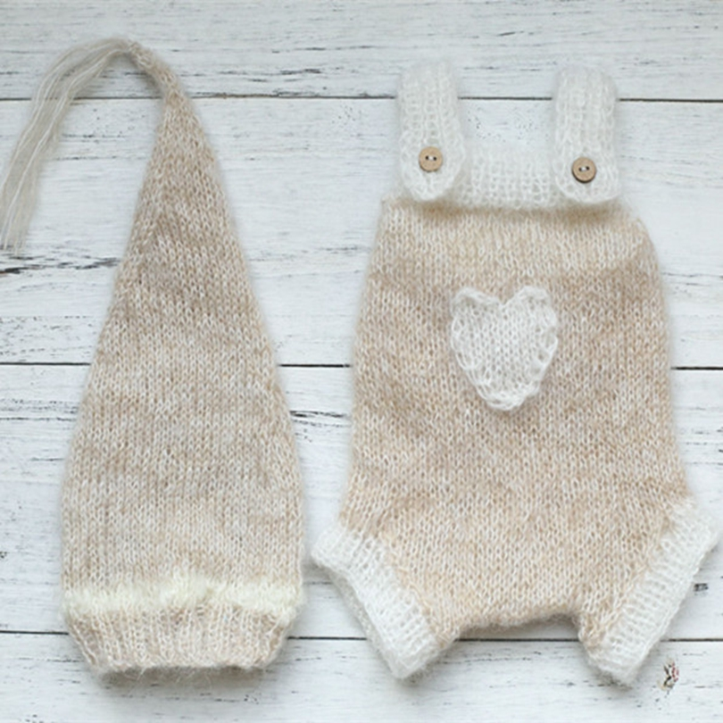 Mohair Sleeper Bonnet And Romper Pattern Knit Newborn Baby Pants Hat