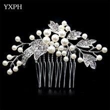 YXPH Crystal Combs Woman Hairwear Wedding Handmade Pearl Jewelry Bride Haircomb Environmental Friendly Rhinestone Accessories