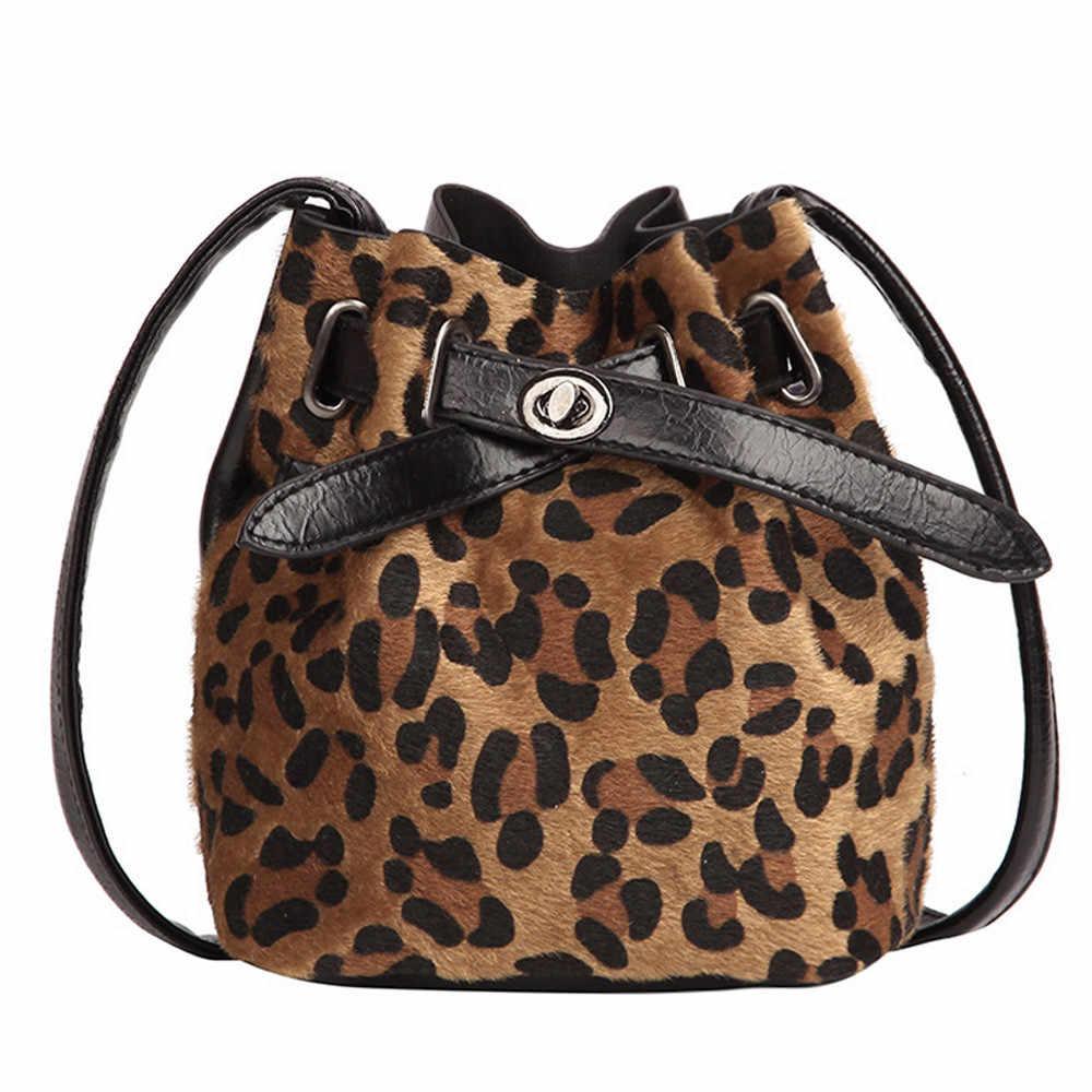 2a0998ad540 Women Plush Leopard Print Shoulder Bag Messenger Crossbody Bag Bucket Bag  Luxury fashion Dropshipping Free delivery