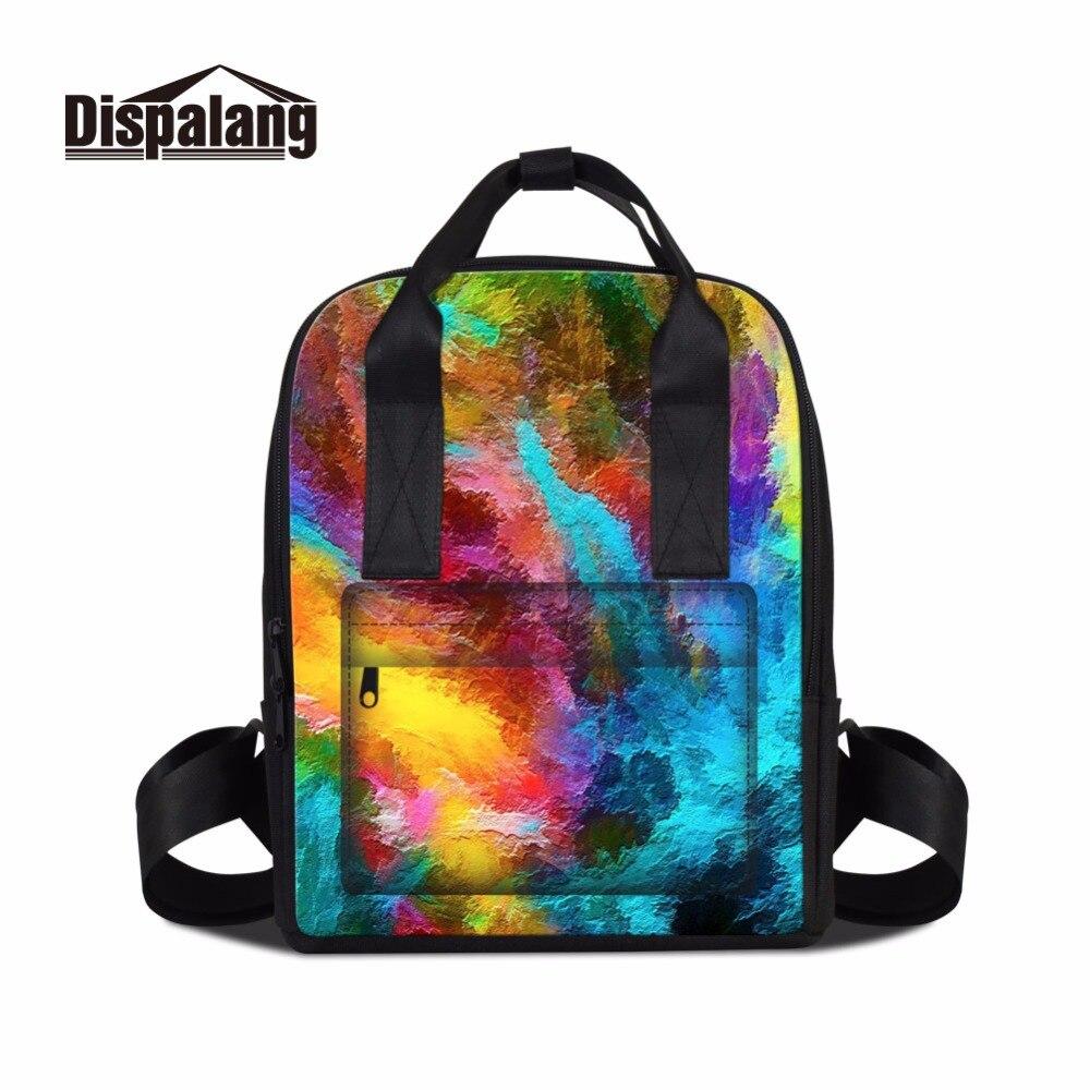 Dispalang Art sac à dos pour femmes voyage mère sac bébé coloré sacs à dos pour filles décontracté Touriser sac à dos collège pochette d'ordinateur