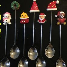 Красивый топ! Санта Клаус Рождественский Снеговик Кофе ложка, вилка для фруктов помешивая ложкой Чай ложка Чай столовая ложка, 304 Нержавеющая сталь