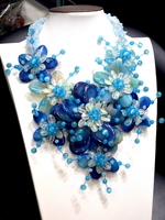 Handmade Royal Blue Shell And Agat E Onyx Statement Flower Necklace For Fashion Women 2017 New Design