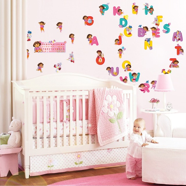 Keythemelife English Letter Wall Sticker Decal Cartoon DIY Alphabet  Kindergarten Children Education Sticker Poster Decor FA