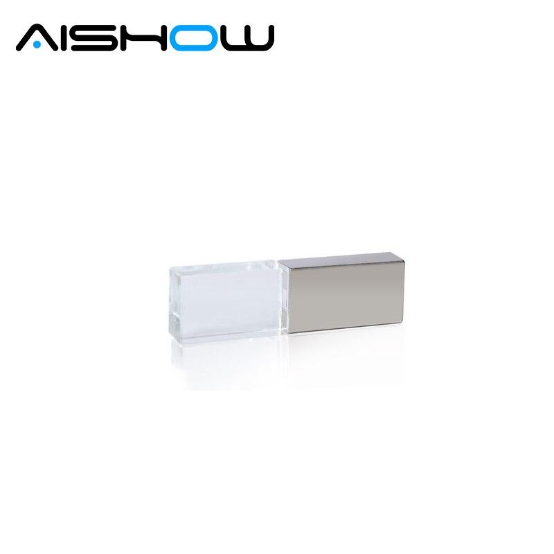 Hot ! Crystal Transparent Led light Metal Usb flash drive Pen drive 64gb Usb memory stick disk 4GB 8GB 16GB 32GB