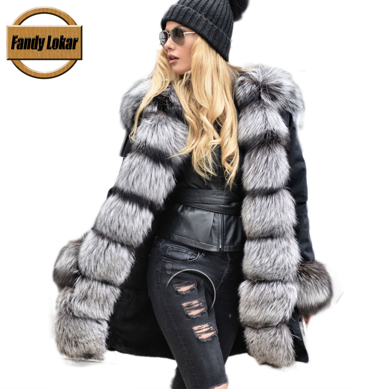 Real Silver Fox Fur Collar Coat Women Winter Real Rex Rabbit Fur Liner Loose Puffer Jacket With Hat Women Army Bomber FP9119 maomaokong real fox fur 2017 new fashion winter coat long hood rex rabbit hairpin to overcome jacket girl