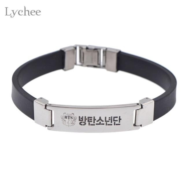 Lychee Hot Kpop Bts Bangtan Boys Wristband Id Bracelet Fans Support Jewelry For Men