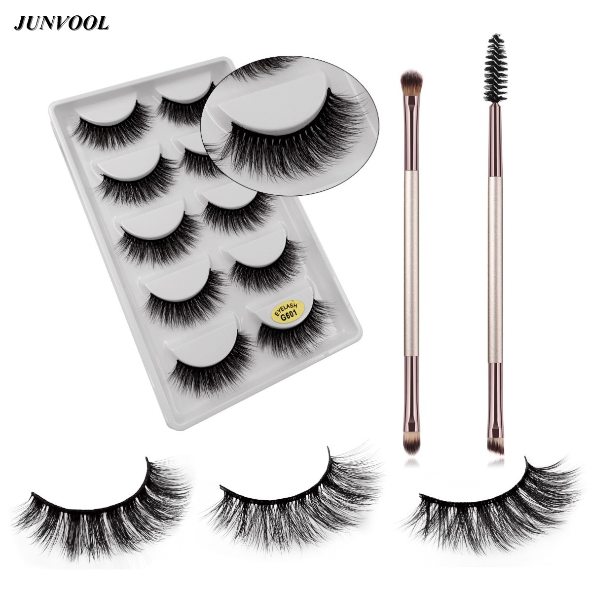 3D Mink Lashes Eyelash Extension 100% Handmade Thick Volume Long False Lash with Double Eyebrow Brush+Eyebrow Comb Makeup Tools