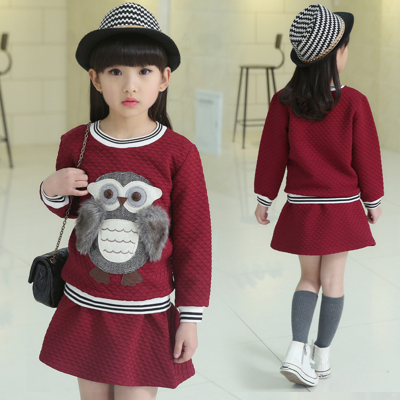 V-TREE spring autumn 3-12Y girl suit set long sleeve top skirt girls clothing set cute owl costume for kids teenage clothes