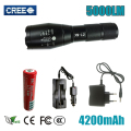 LED XM-L2 5000LM Adjustable Zoomable Flashlight Light Torch Lantern CREE XM-L2 Flashlight Rechargeable 18650+charger+cover Z30