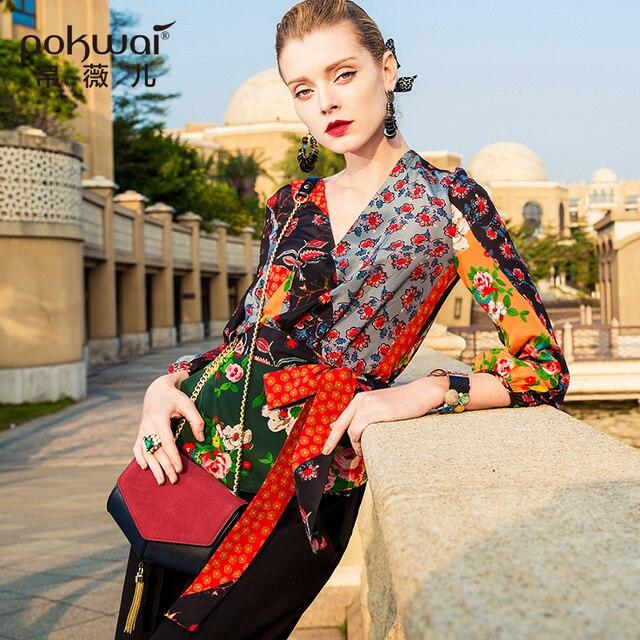 POKWAI Casual Silk Blouse Shirt Women 2018 New Arrival High Quality Nine Quarter Sleeve Sexy V-Neck Sashes Print Chiffon Tops