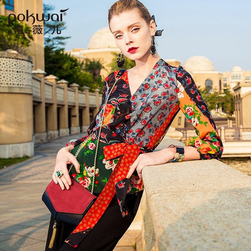 POKWAI Casual Silk Blouse Shirt Women 2018 New Arrival High Quality Nine Quarter Sleeve Sexy V Neck Sashes Print Chiffon Tops