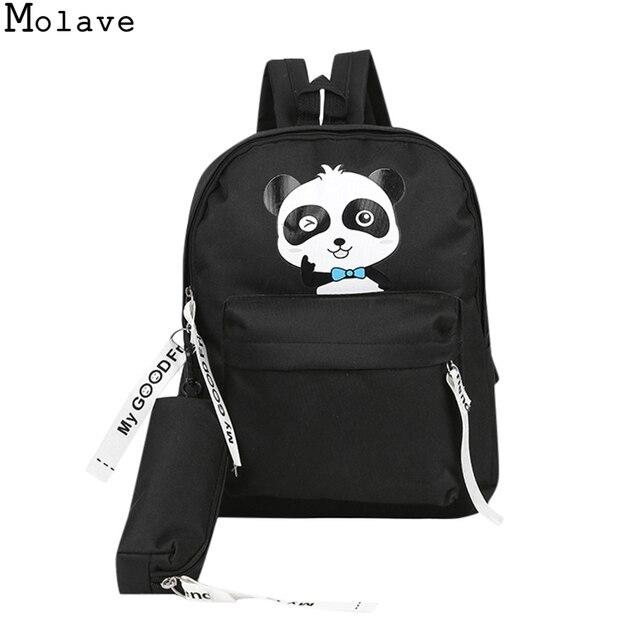 faed1e8b828d MOLAVE Cute Panda Backpack School Female Students Backpacks For Teenage Girls  Funny Rabbit Canvas Bookbag Female Mochila 7.SEP19
