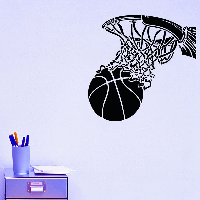Basketball Shoot In Basketball Hoop Wall Stickers Sports Home Decor Vinyl Removable DIY Wall Decals For Boys Room