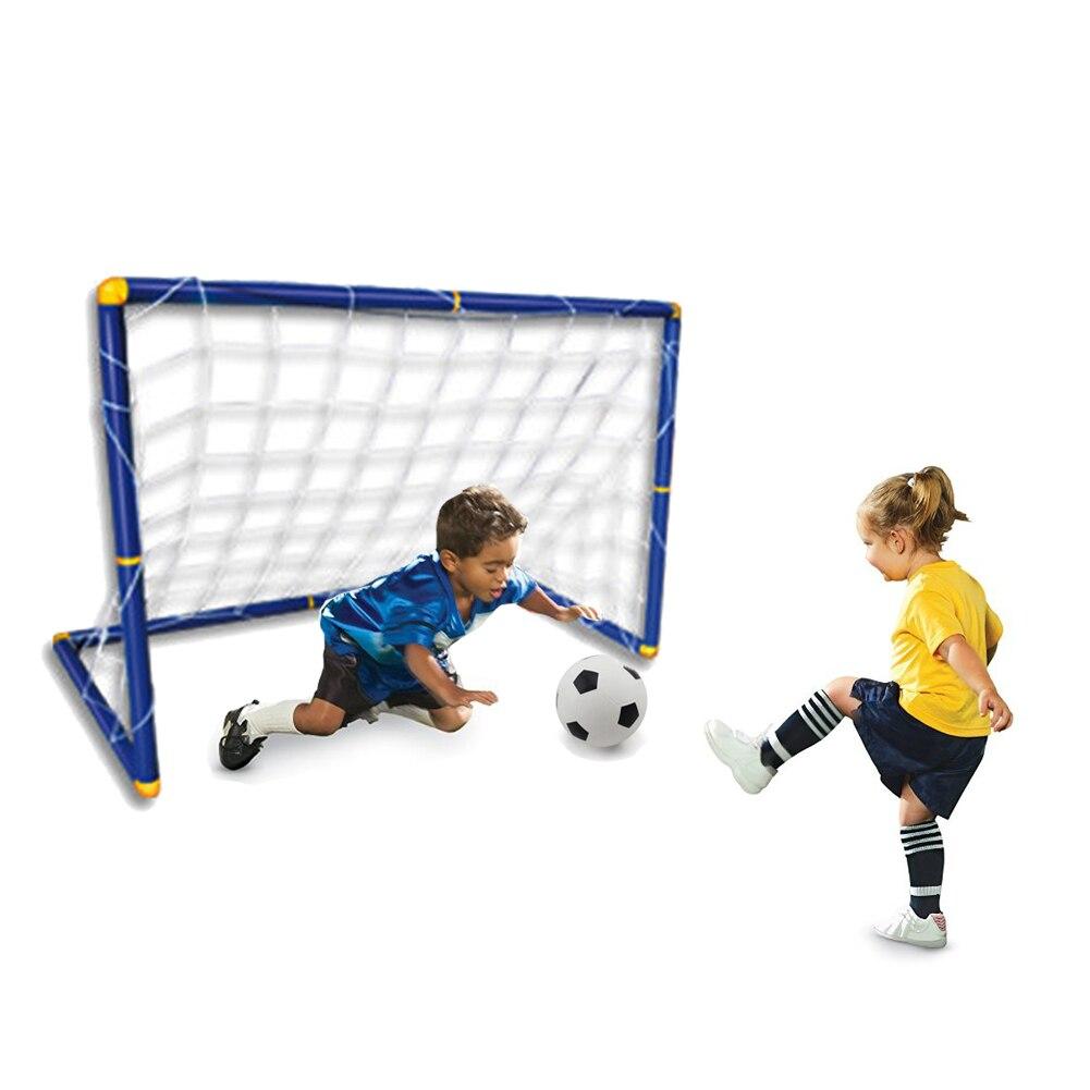 цена 90*60*47cm Portable Children Outdoor Toys Folding Kids Football Goal Door Set Football Gates for Children Soccer Door Set