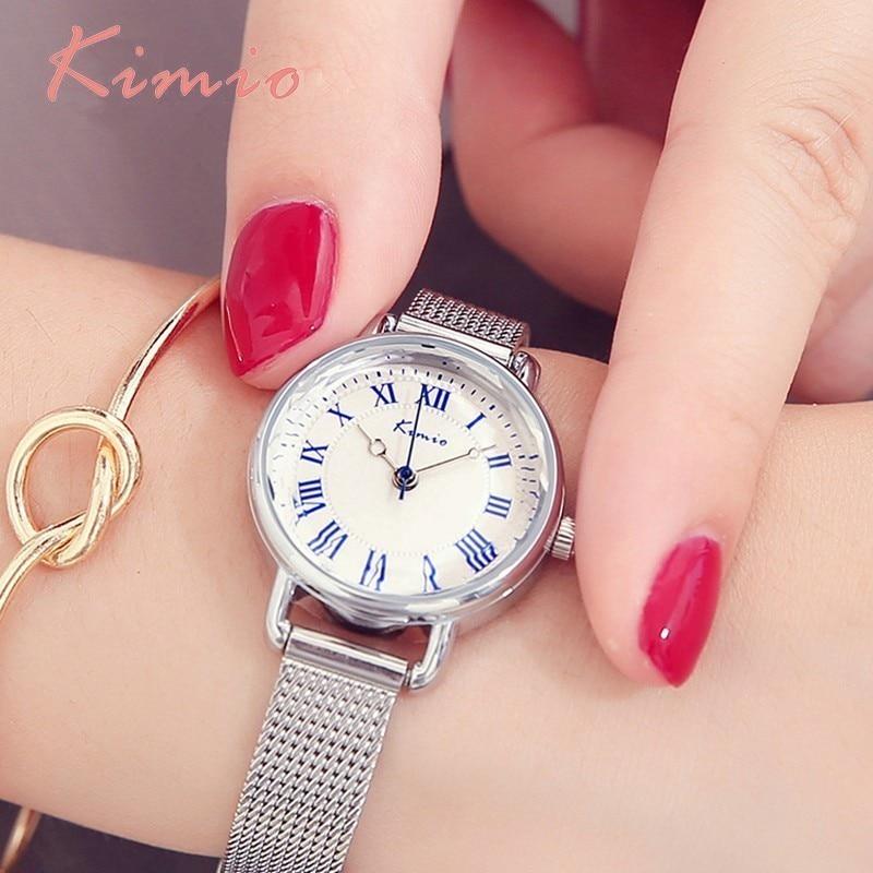 KIMIO Reloj Retro Negro Mujeres Pulsera de Acero Inoxidable Reloj de - Relojes para mujeres
