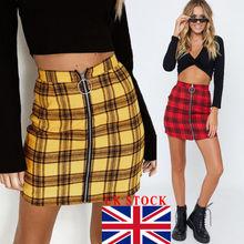 """Британская Женская клетчатая ткань """"Шотландка"""" Высокая талия Женская Мини-Юбка Повседневные Вечерние Облегающие юбки"""