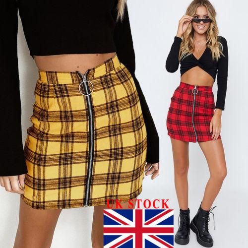 UK Women Tartan Check High Waist Mini Skirt Ladies Casual Party Bodycon Skirt