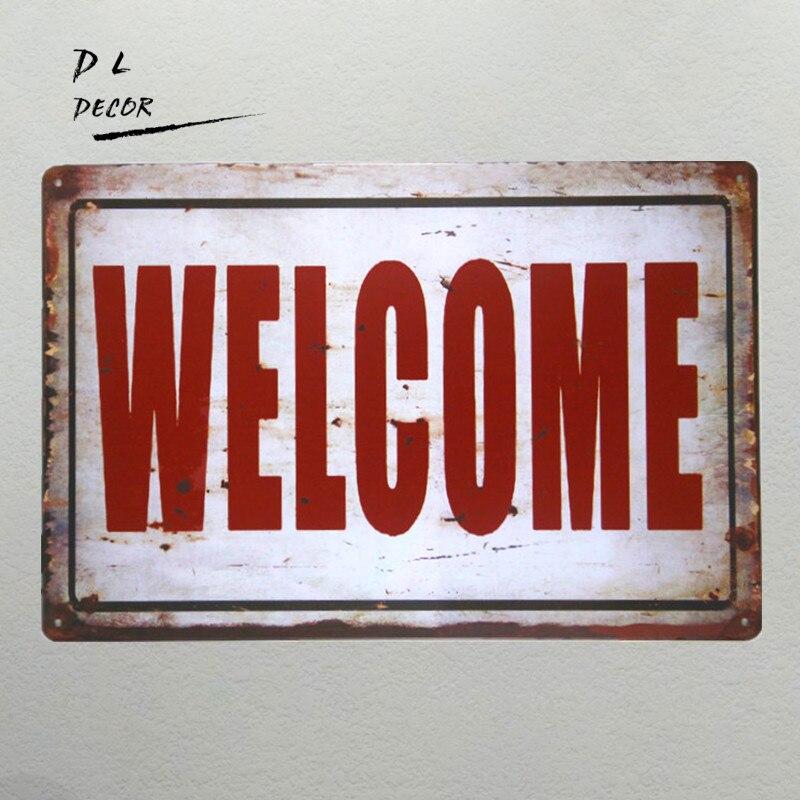 DL-Bienvenue Signe vintage café bar boutique antique mur peinture