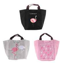 Woman Lunch Insulation Bag Portable Food Infant Breast Milk Warmer Beach Tote Baby Milk Bottle Keep Warm Bag Flamingo print(China)