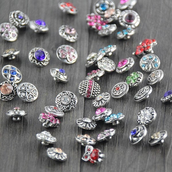 Hot 100pcs/lot Mix Styles Rhinstone 12mm Snap for Choker Jewelry Fit Leather Watch Snaps Bracelet Button silver jewelry image