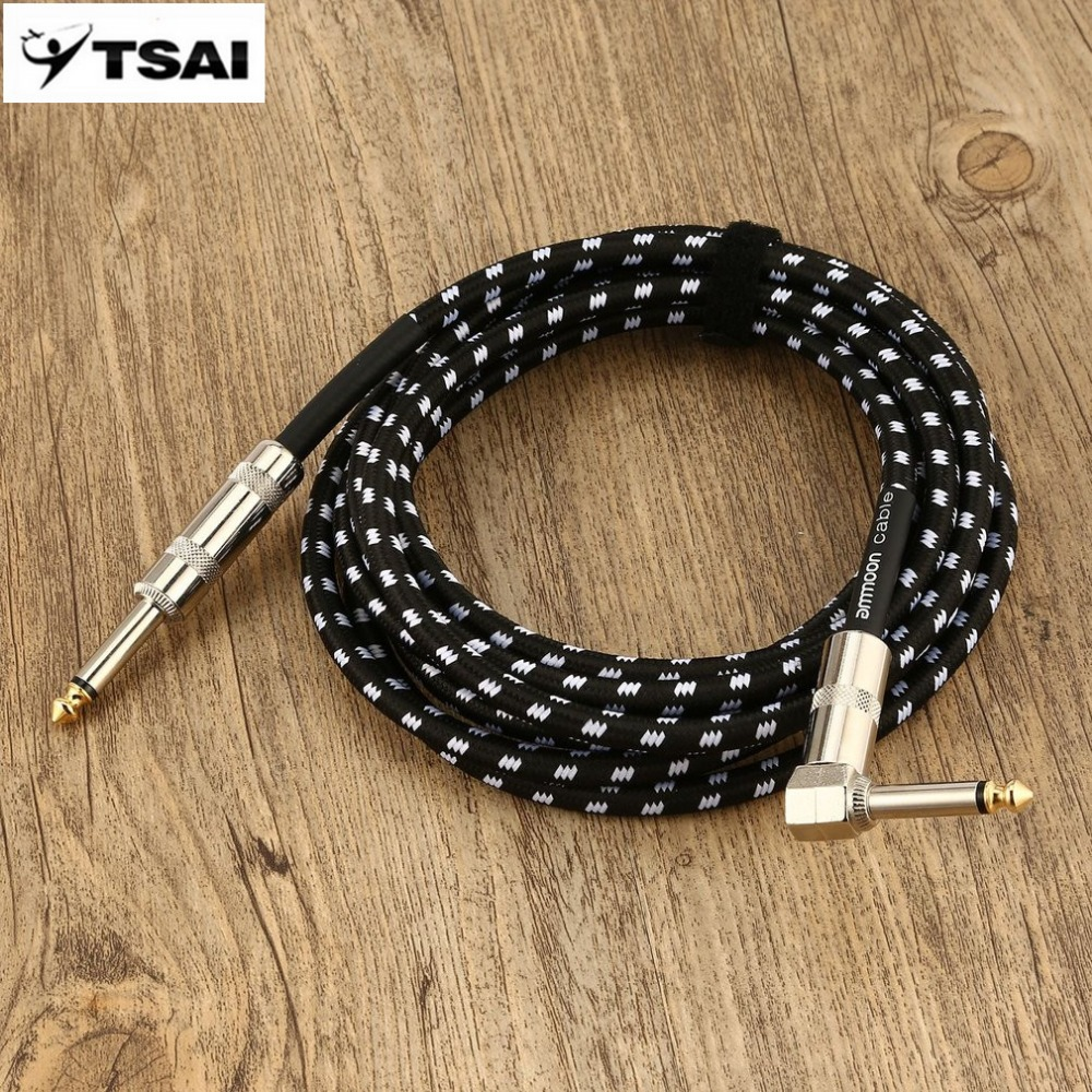 TSAI 3/6 Meters Professional Electric Guitar Cable Bass Musical Instrument Cable Cord 1/4 Inch Straight to Right Angle Plug