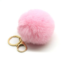 Big faux leather 8CM Fur PomPom KeyChain Rabbit Hair Bulb Bag pom pom Ball key chain Pendant porte clef for women Lovely Fluffy(China)
