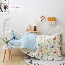 Liv-Esthete 2019 New 100% Cotoon Cute Dinosaur Baby Kids Bedding Set Duvet Cover Pillowcase Blue Bed Linen 3Pcs Drop shipping