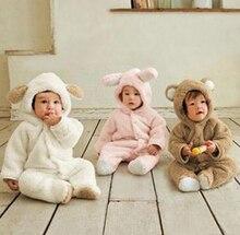 Зима Новорожденный Утолщаются Плюшевые Baby Rompers Хлопок животных моделирования/Bebes Длинный рукав Комбинезон/Новая Детская одежда для новорожденных