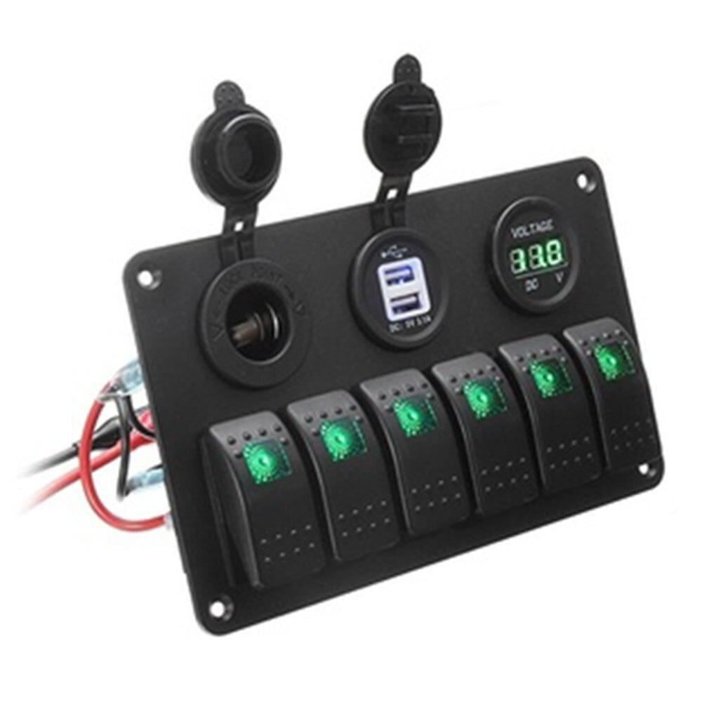 Переключатель 6 банд автомобильный переключатель панель грузовик двойной USB прочный светодиодный караван