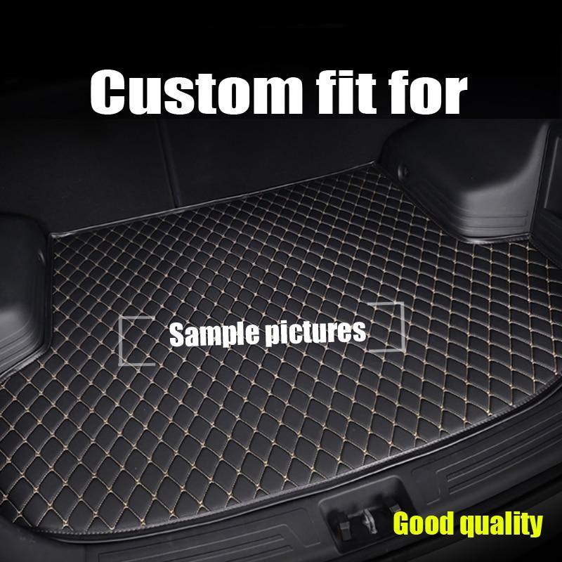RKAC Custom fit Car trunk mats for AUDI A8 A8L S8 D2 D3 D4 2005 2017 BOOT LINER REAR TRUNK CARGO TRAY CARPET MAT STICKERS