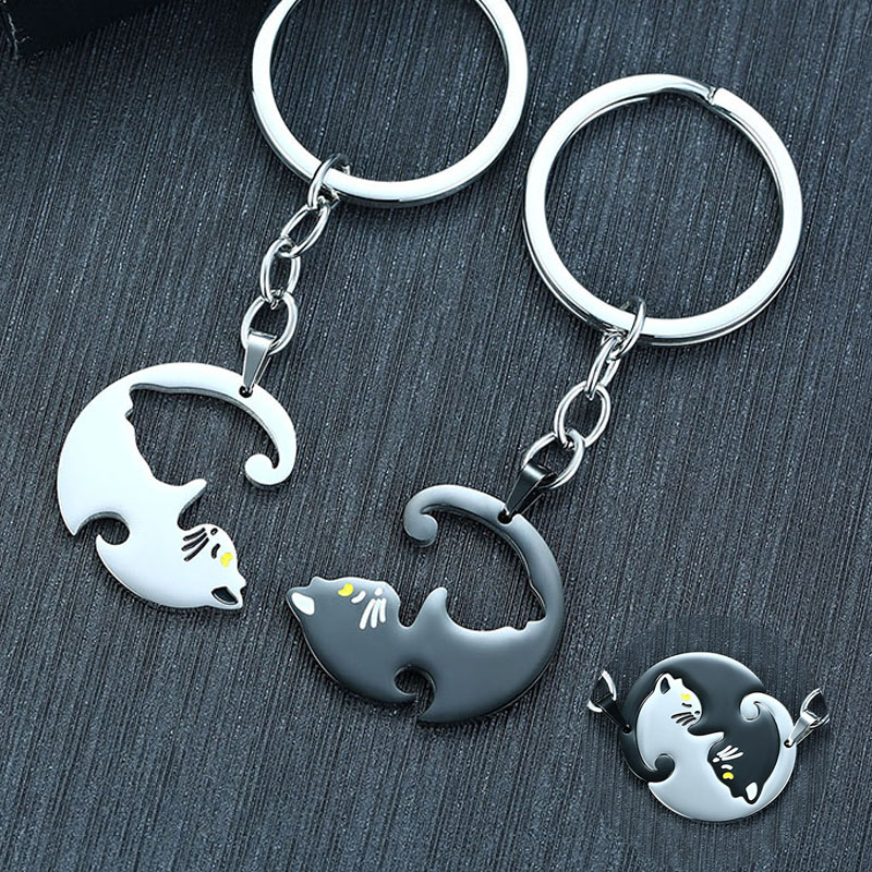 Pairs Yin Yang Keyring Pet Cat Puzzle Piece Key Chain Couple Kitten Anniversary Best Friend Gift