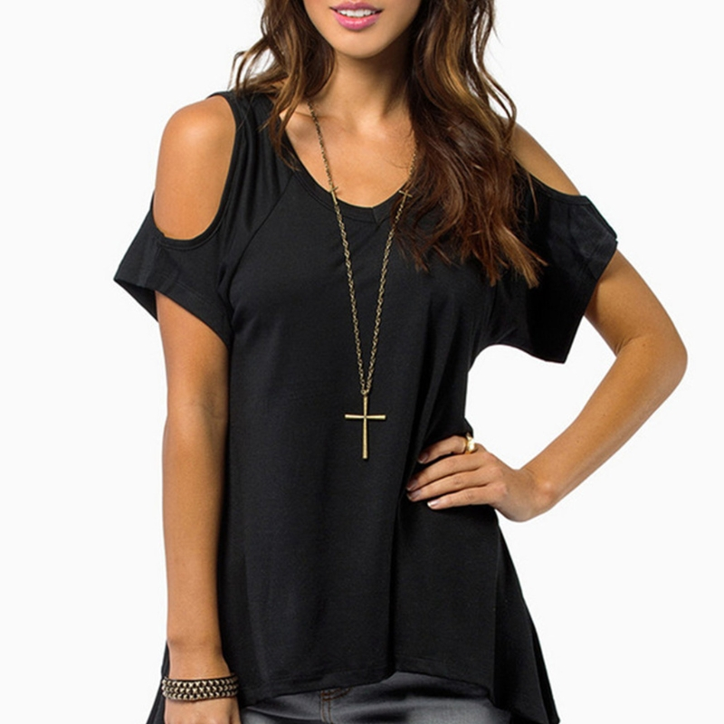 Women Cold Shoulder Short Sleeve T-Shirt Cut Hollow Skull Backless Casual
