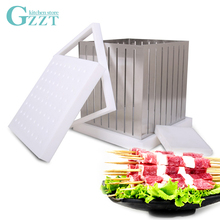 ABS Plastic + Stainless Steel Kebab Maker Box Rapid Wear Meat Make 64 Skewers One Time BBQ Barbecue Tool