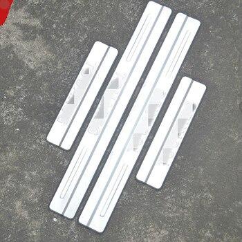 רכב סטיילינג עבור פולקסווגן טוארג 2011-2015 דלת אדן נירוסטה שפשוף צלחת סף מדבקת אביזרי 4 יח'\סט