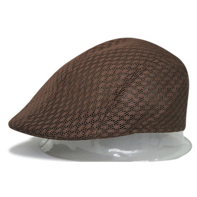 f0ee0819136 2017 New Design Mesh Newsboy Cap Mens Ivy Hat Driving Summer Sun Flat  Cabbie Hot Item