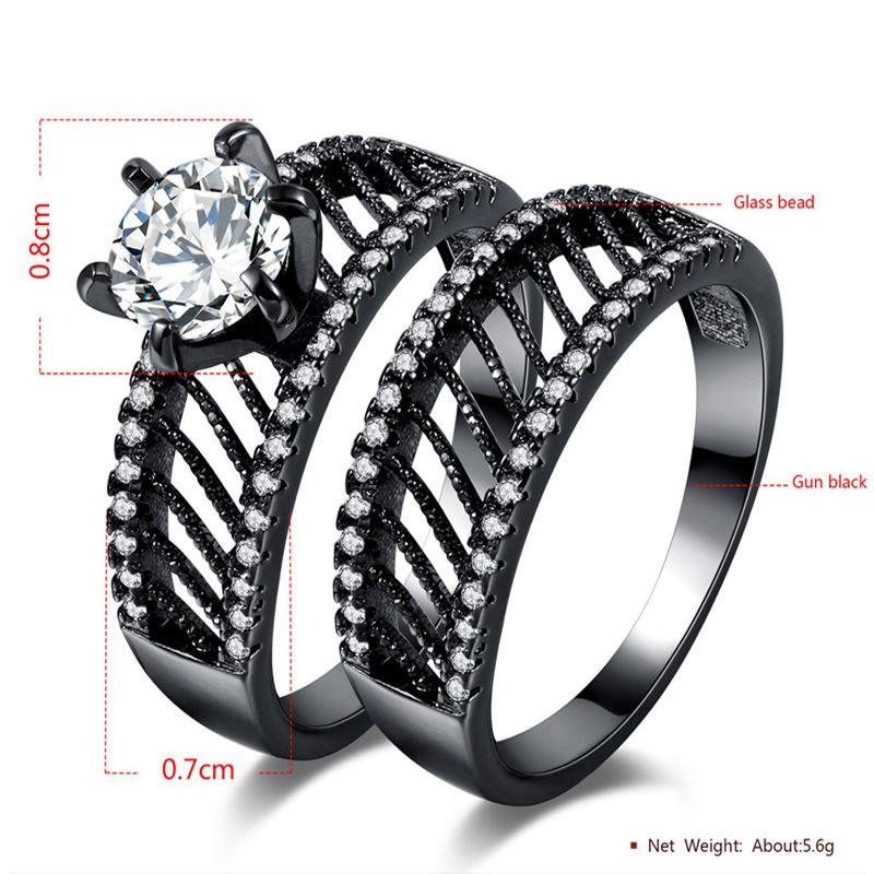 MJARTORIA 2 PCs/Set Couple Crystal Zircon Stone Rings For Women Men Double Ring Set Twill Hollow Black Wedding Jewelry Gifts