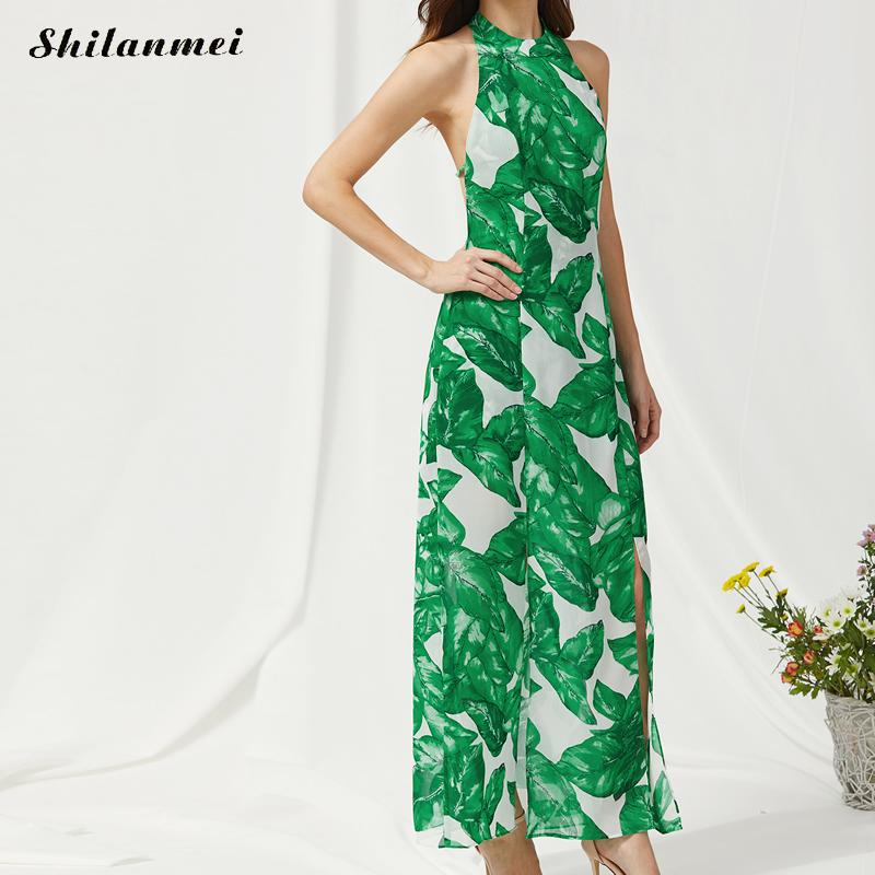Sexy Backless Green Leaves Printed Maxi Dress Summer Halter Evening Vintage Bandage Sleeveless Long Party Dress Boho vestidos