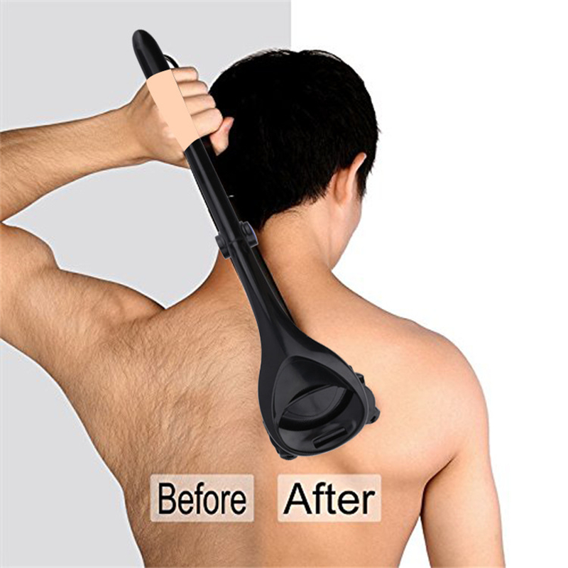 Homens de Volta Ferramentas Barbeador Dobrável Dupla Cabeça de Cortador Longo Handle Remoção Razors Para Cabelo 2.0 Atualização 39x10cm
