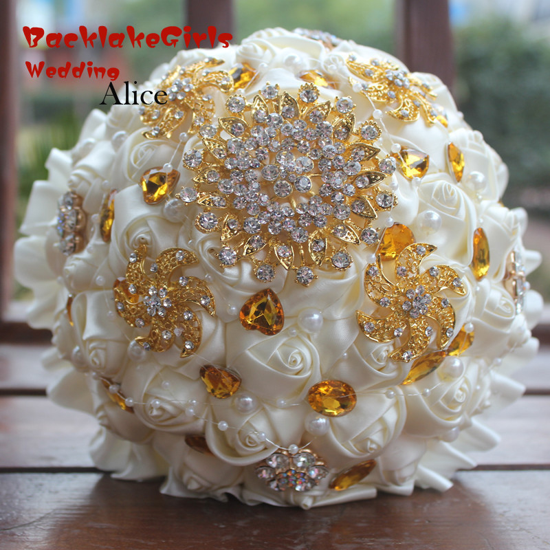 Alice Bride Hand Hold In Both Hands Droguet Bring Simulation Bouquet Golden Rhinestone FLOWER Hand Bridal Bouquet 18cm WB004